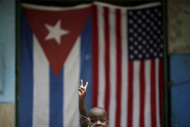 The American and Cuban flags