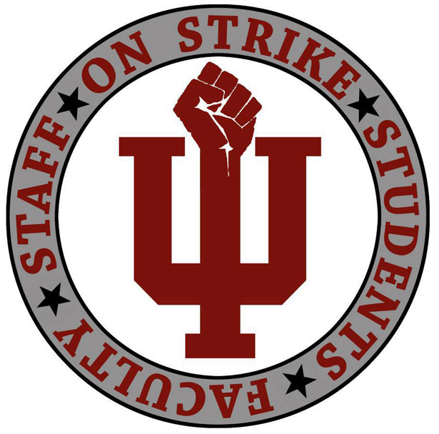 Indiana University strike logo