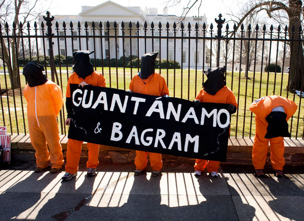 Protesters calling for the closing of the U.S.detention facilities at Guantanamo Bay, Cuba, and at Bagram Air Base, Afghanistan, in 2009.