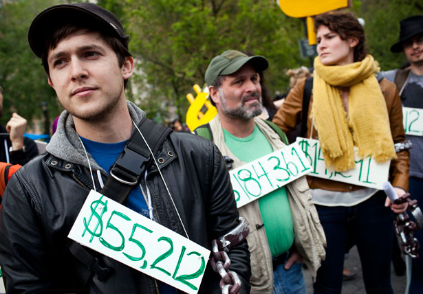 OWS protesters demonstrate against student loan debt