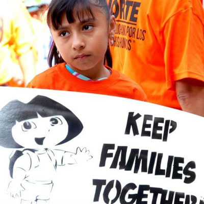 A child at an immigrants rights protest
