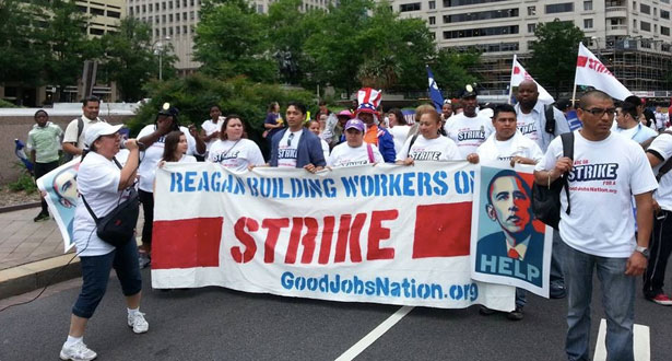 Federally contracted workers strike earlier this year