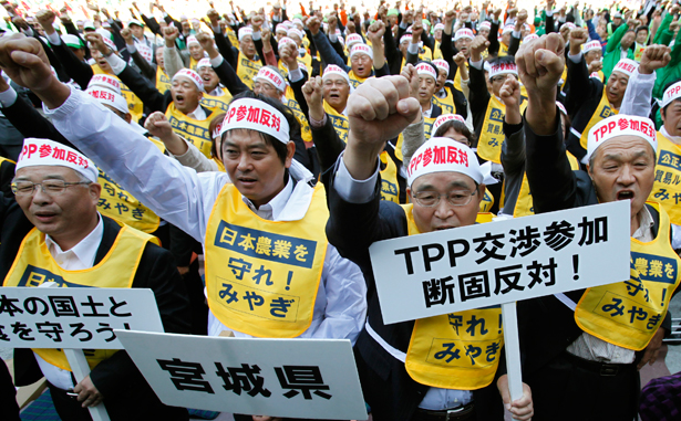 Japanese farmers protest the Trans-Pacific Partnership